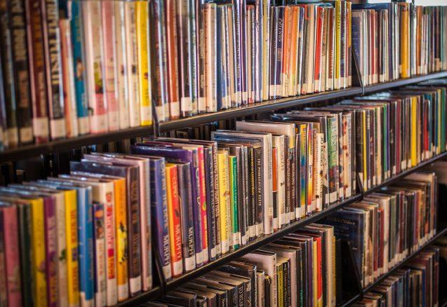 A picture of a book shelf.
