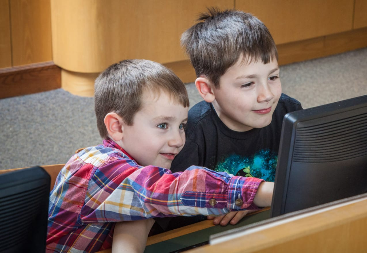 A picture of two boys on a computer.