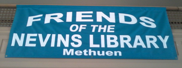 Friends of the Nevins Library Methuen Blue hanging banner