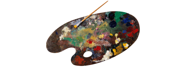 Paint Palette with a mish mash of paint on it and a brush resting against it