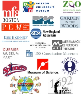 Picture of all the different logos of the museum passes we have