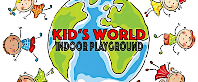 Kids holding hands around an earth with the words Kid's World Indoor Playground on it