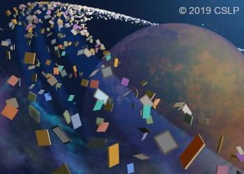 Books in a ring around a planet in space