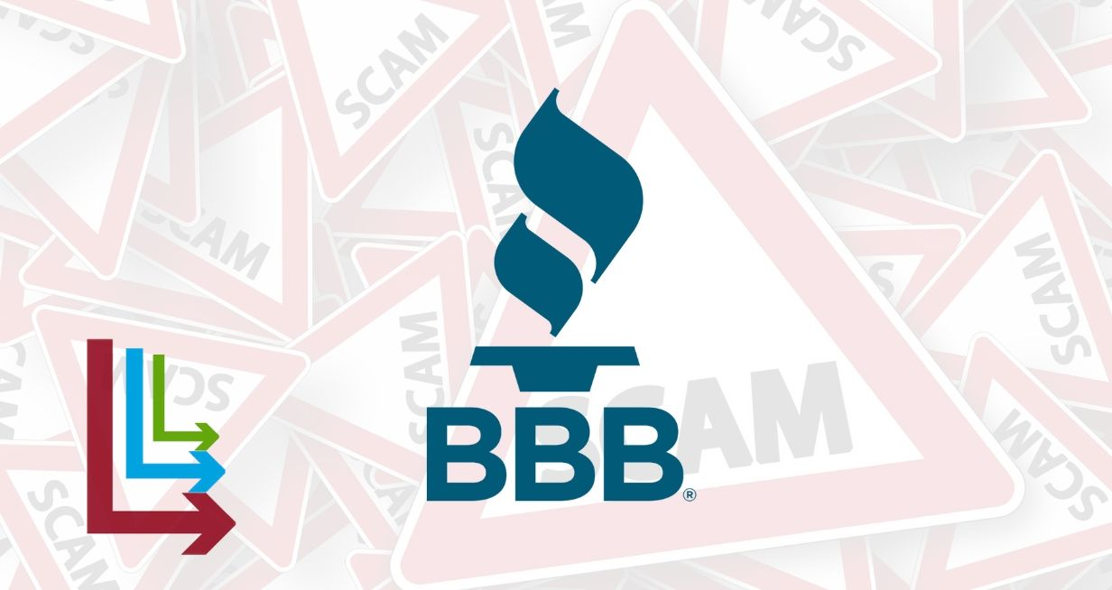 Better Business Bureau Logo on top of Scam Warning signs background