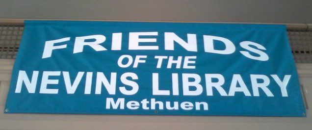 Friends of the Nevins Library Methuen Blue colored banner