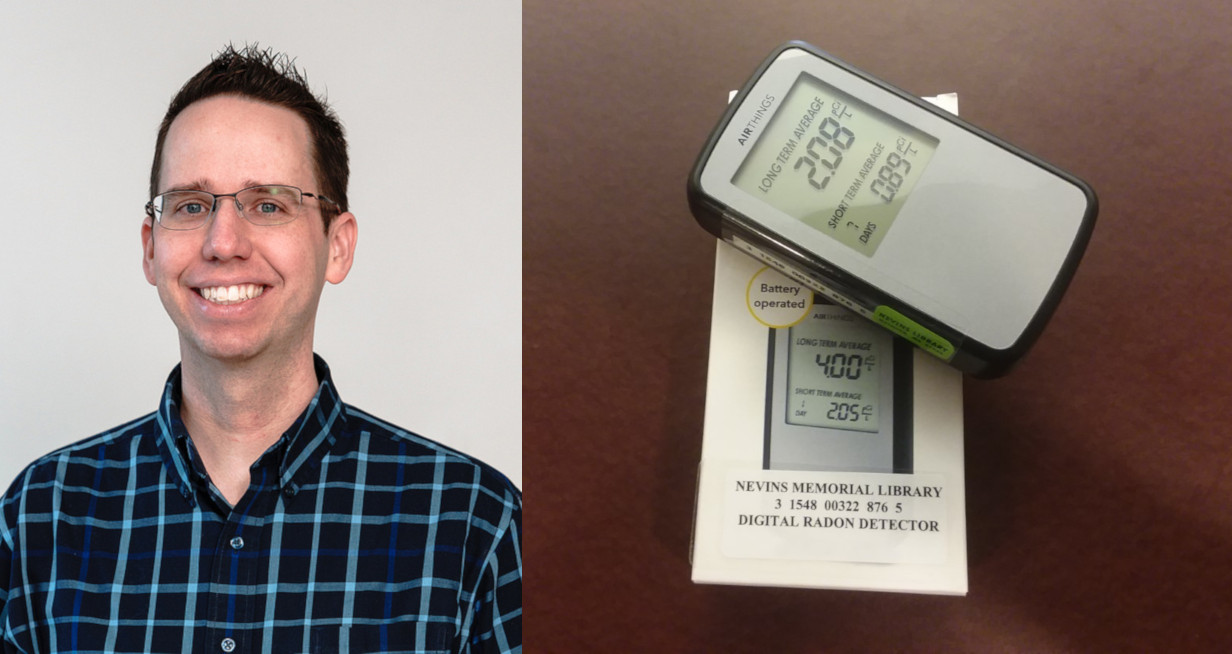 picture of mike cross and picture of radon detector