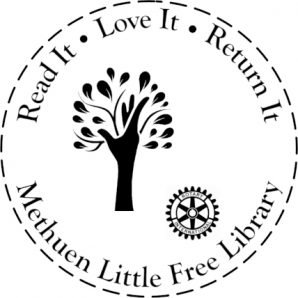 Nevins Memorial Library Little Free Library Book Stamp with NML Logo and Rotary International logo