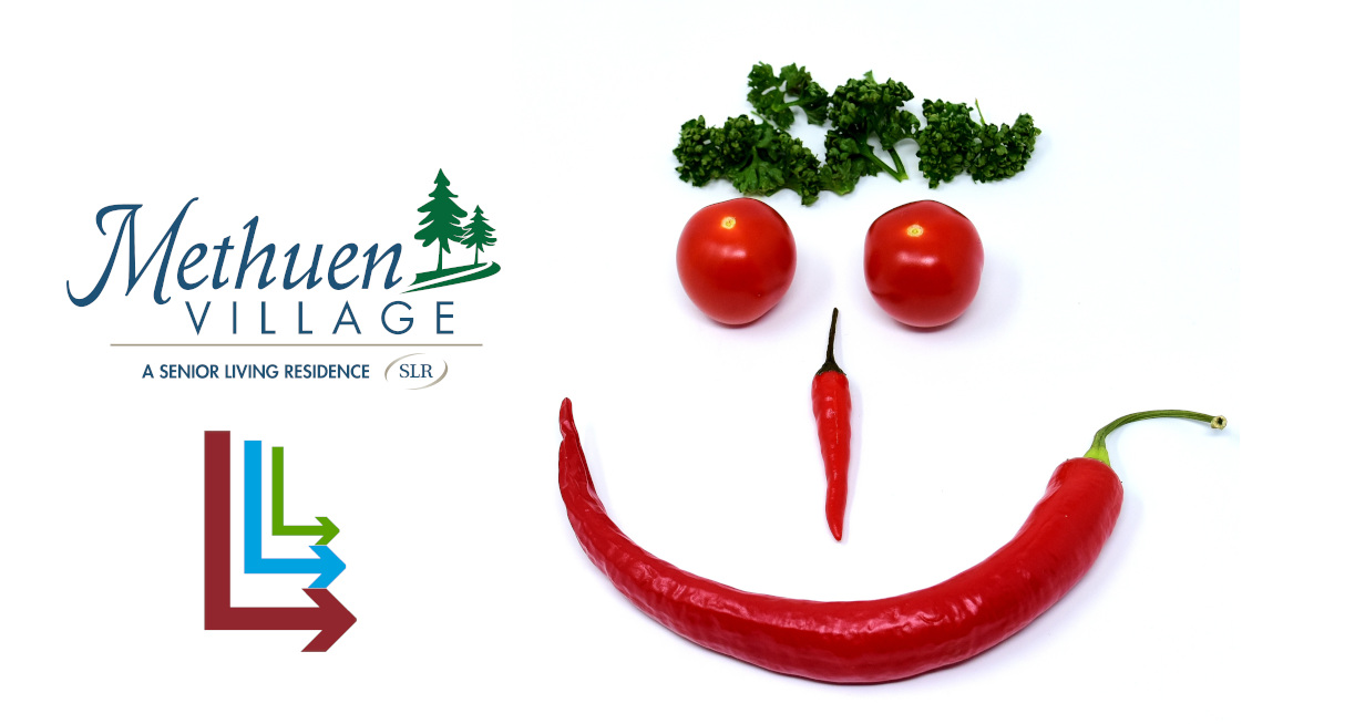 Methuen Village Logo and Live Long and Learn logo to the right of a face made out of tomatoes and a chili pepper
