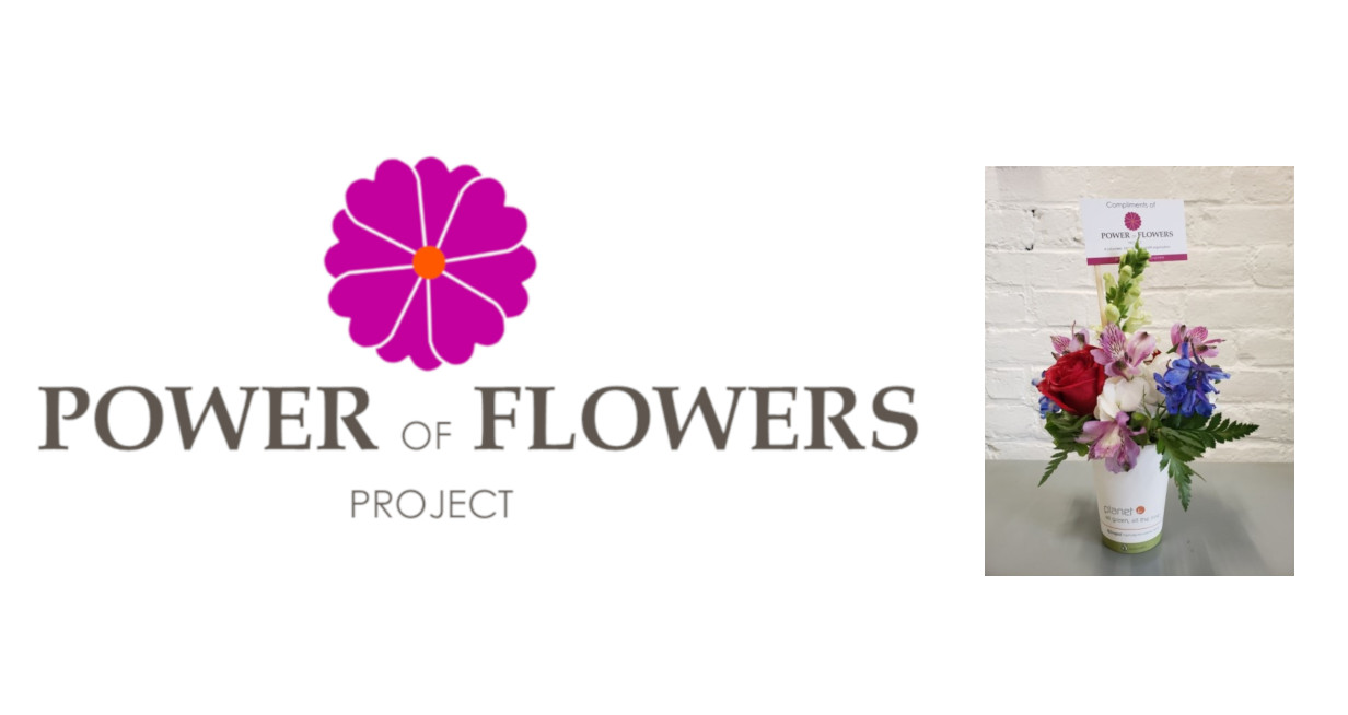 Power of Flowers Logo to the left of a picture of a Flower Arrangement