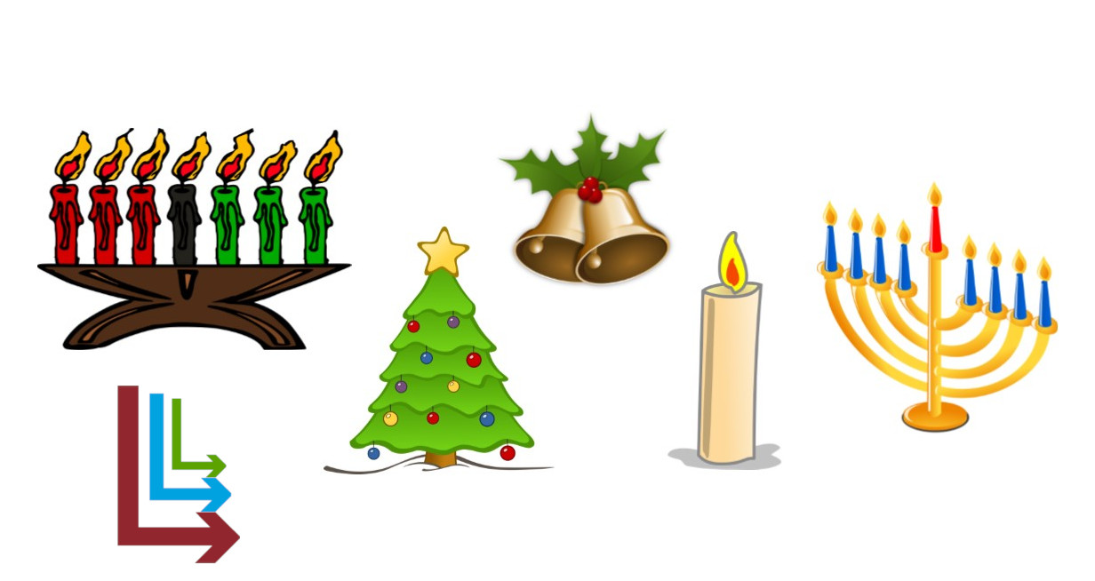 From left to right, a kwanza candle holder, the Live Long and Learn Logo, a christmas tree, two ringing bells, a solstice candle, and a menorah