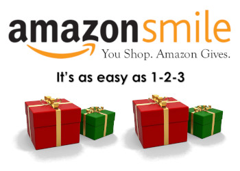 Amazon Smile Logo with text You Shop. Amazon Gives. It's as easy as 1 2 3 with four red and green presents underneath it