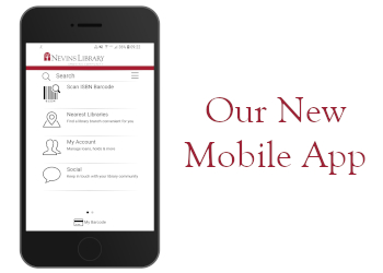 A cellphone with a screencap of the home page of the Nevins BlueCloud Mobile App and to the right of it text that says Our New Mobile App